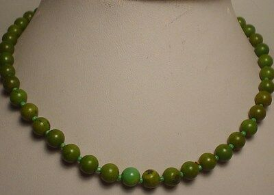 8mm Antique Green Turquoise(howlite) Beads Necklace(N754b)