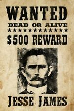 """Jesse James Mobster Outlaws Wanted Poster  8.5""""x11"""" Wall Photo Mancave Decor #1"""