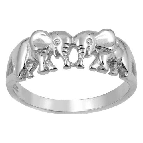 Or Blanc Finition éléphant safari Sterling Silver Ring Taille 3-13