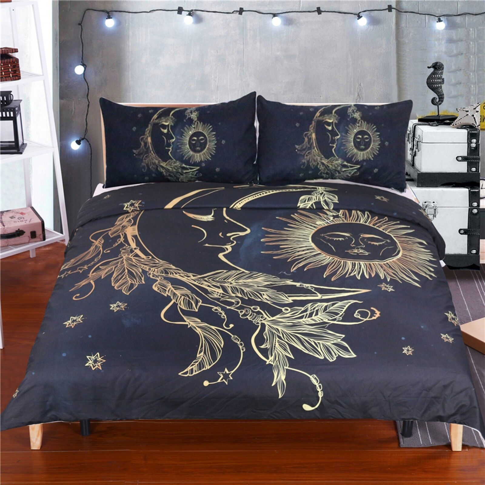 3D Moon Sun Pattern 424 Bed Pillowcases Quilt Duvet Cover Set Single Queen CA