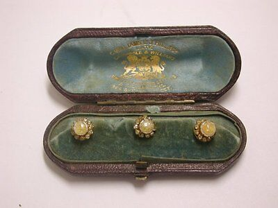 Lovely Antique Cased Set of 3 Jewelled Buttons
