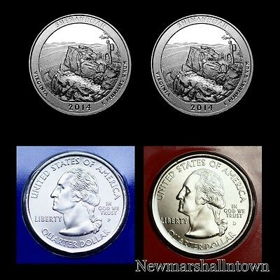 2014 P D /& proof S US Mint ATB Shenandoah Virginia 3 Coin Quarter Set w// COA