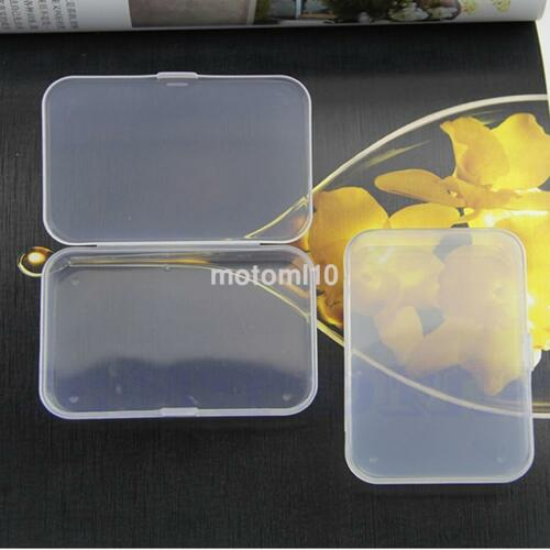 2X Clear Plastic Transparent With Lid Storage Boxes Collection Container Case US