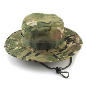 175113cde1f33 New Bucket Hat Outdoor Canvas Cap Military Fishing Wide Brim Boonie ...