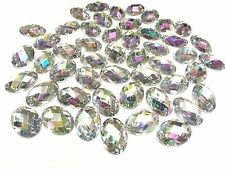 Sew on Acrylic Oval Diamante Crystal Gems Rhinestone Bling AB 50 x 13*18mm