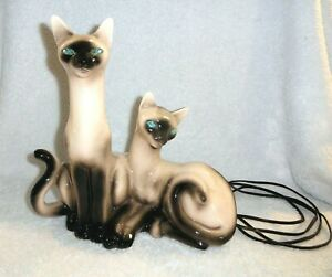 Vtg-MCM-Retro-Siamese-Cat-TV-Lamp-Figurine-Lane-California-Jewel-Eyes-Needs-Cord