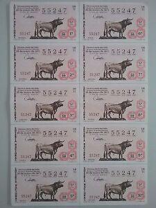 Billete-entero-Loteria-Nacional-sorteo-16-1971-25-de-mayo-TORO-DE-LIDIA