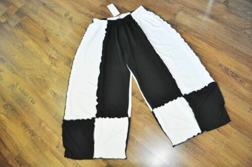 3xl Lagenlook raffinato Jersey-palloncino Pantaloni Nero Bianco Roll arrotolato 2xl 4xl