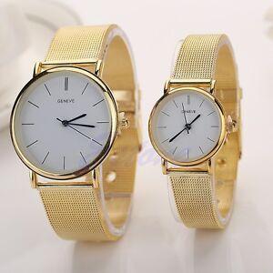 2015 Geneva Men Womens Fashion Watch Stainless Steel Band Quartz Wrist Watches