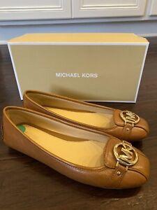 MK-Michael-Kors-Fulton-Moc-Flats-Slip-On-LEATHER-Shoes-Size-8W-New