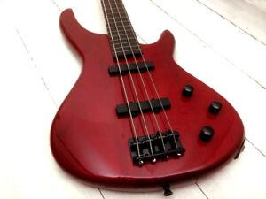Image Is Loading RoXonix Fantom Fretless Bass Guitar Translucent Red Fret