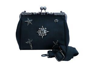 GOTHIC-METAL-SKULL-STAR-CROSS-Oversize-Purse-Ladies-Black-Handbag-Goth-PU-Bag
