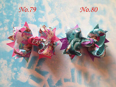 "Princess Hair Bow Clip Cinderella Frozen Hairbow 50 BLESSING Happy Girl 5.5/"" B"