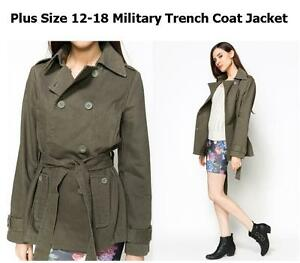 LADIES-PLUS-SIZE-8-18-MILITARY-GREEN-LONG-TRENCH-COAT-PARKA-JACKET-COMBAT-BLAZER
