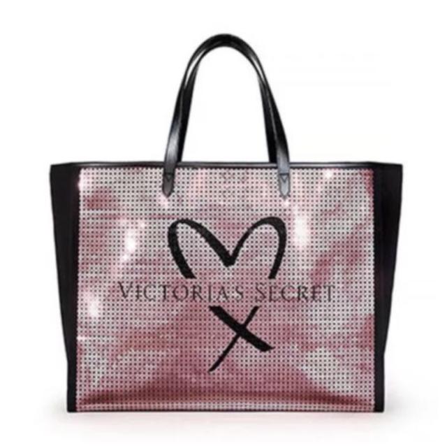 3c3fb89a6065 Victorias Secret Pink Sequin Showstopper Tote Shoulder Weekend Bag Limited  New