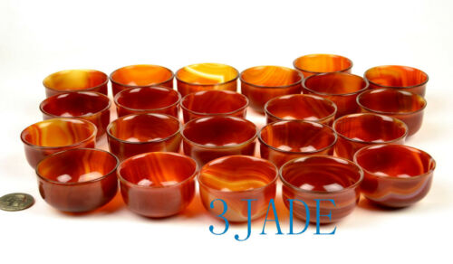 Red Agate Cups 4PCS Hand Carved Carnelian Stone Shot Glasses Bowls