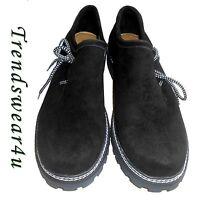 German Bavarian Oktoberfest Trachten Lederhosen Black Color Suede Leather Shoes