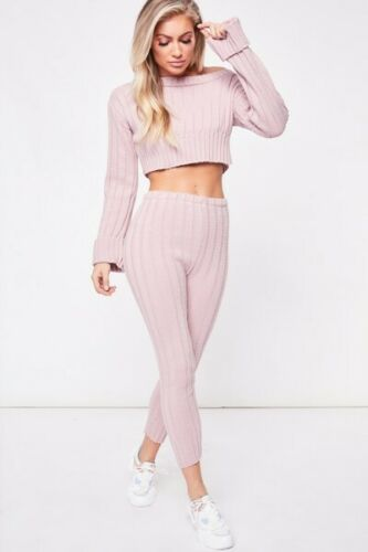 New Womens Ladies Cable Knit Knitted Warm 2pc loungewear set Casual Tracksuit UK