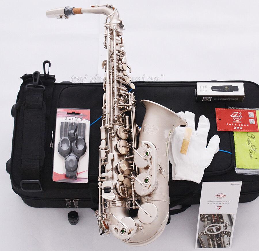 Professionelle TaiShan Satin Nickel Alto Saxophon High FNew Eb Saxofon W Case