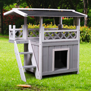 Dog-House-Outdoor-Shelter-Roof-Cat-Condo-Wood-Steps-Balcony-Puppy-Stairs-Grey