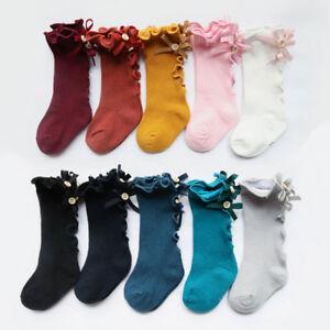 70570df7f553 Toddler Infant Girls Cotton Knee High Long Socks Kids Bow Stockings ...