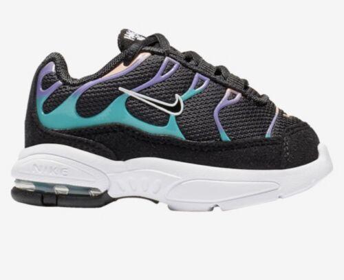 Size 8C BQ7228-001 Nike Little Air Max Plus Black//Purple//Teal TODDLER GIRL