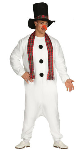 Adult Snowman Costume Mens Ladies Christmas Fancy Dress Outfit 4 PC NEW 38-44