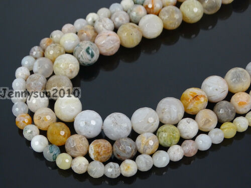 "Natural Bamboo Leaf Agate Gemstones Faceted Round Beads 15"" 6mm 8mm 10mm 12mm"