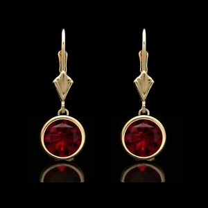 2-00-Ct-Red-Ruby-Bezel-Lever-back-Earrings-14k-Solid-Yellow-Gold-Over-Round-Cut