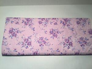 Vintage-Quilting-Fabric-Cotton-Fine-Flannel-3-yards-10-Pink-Purple-White