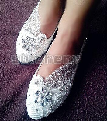 Su Cheny Flat 4cm 7 5cm Wedges Heels White Lace Rhinestone Wedding
