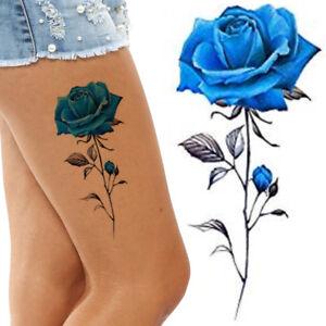 Blue Roses Flower Temporary Tattoos Stickers Body Art 3D Rose ...