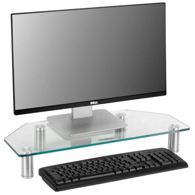 VonHaus Corner Monitor Stand   Clear Glass   Computer & TV Display Mount Riser