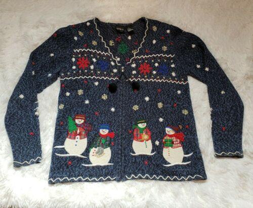 Vintage Snowman Quarter Zip Sweater