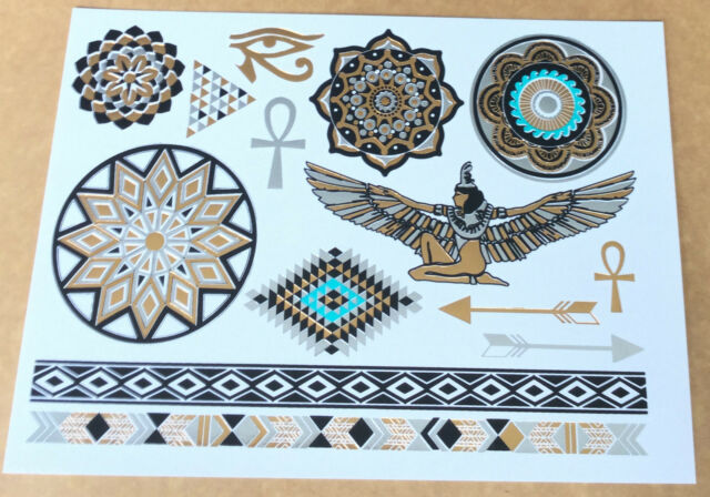 Excellent waterproof Temporary Metallic Tattoo Gold Silver Black Flash Egyptian