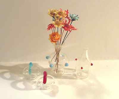 Dollhouse Miniatures Collection of Glass Flower Vase Urn Glassware Home Decor