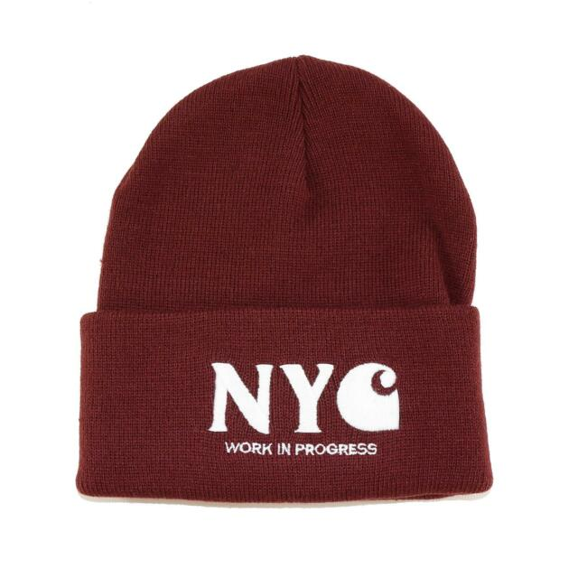 Carhartt NYC Beanie Knitted Cap Unisex One Size, Colour Wine Red/White, 92375