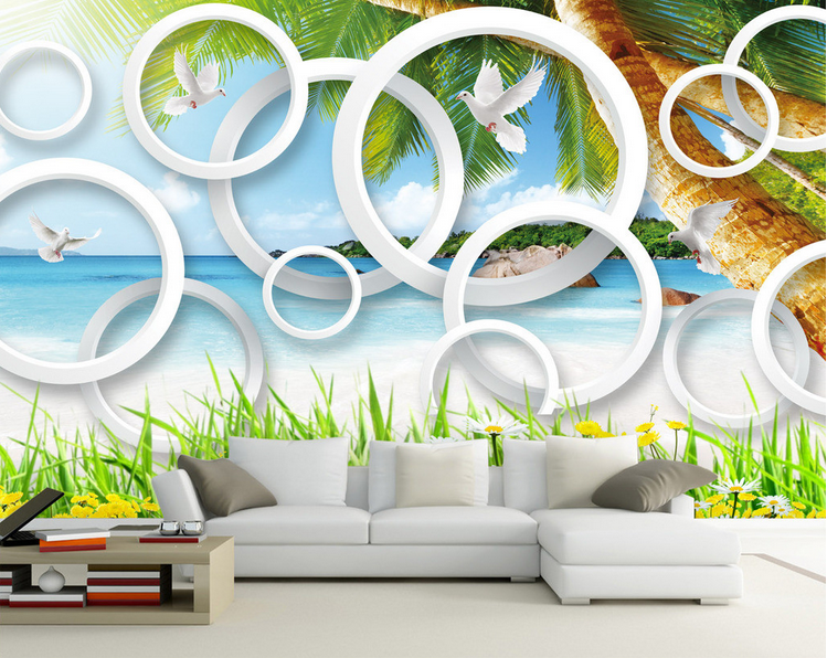 3D Beach Grün Trees 645 Paper Wall Print Wall Decal Wall Deco Indoor Murals
