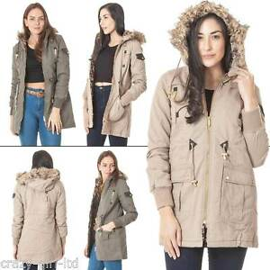 74d22950c Details about Womens Brave Soul Faux Fur Hooded Jacket Ladies Winter Padded  Parka Zip Coat S M