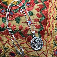 Flower of Life Sacred Geometry Pendant Sterling Silver Chain Necklace