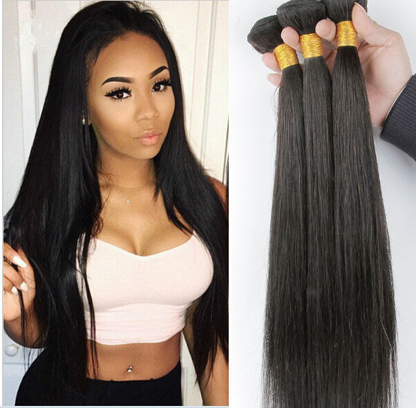20 Remy Brazilian Straight Human Hair Weave Extensions 3 Bundles