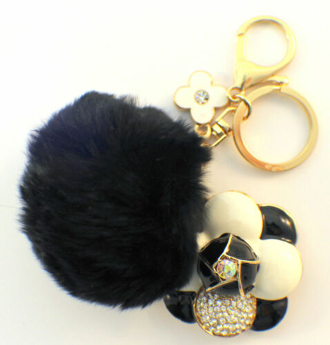 Rhinestone Bling Gold Tone Key Chain Fob Purse Charm Flower With Black Puff