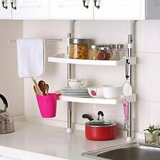 2 TIER KITCHEN STORAGE RACK BATHROOM ORGANISER MICROWAVE STAND HOLDER SHELF NEW