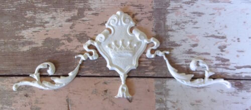 SHABBY n CHIC FURNITURE APPLIQUES ARCHITECTURAL CROWN CREST w// SCROLLS