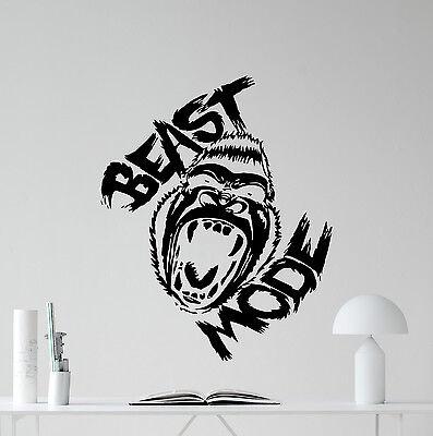 Beast Mode Gorilla Wall Decal Fitness Motivational Gym Vinyl Sticker Mural 52fit Ebay