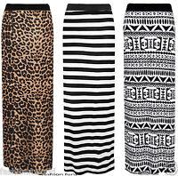 WOMENS LADIES AZTEC TRIBAL STRIPE LEOPARD PRINT LONG GPSPY MAXI SKIRT DRESS 8-14