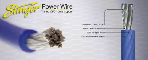 25 Foot Cut of Stinger Black Pro Series 4 Gauge Pure Copper Power Wire SPW14TB