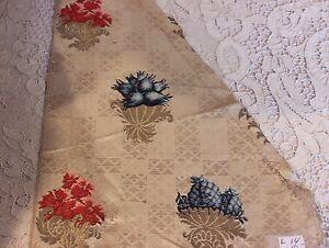 Antique French Or Italian 18thC Silk Brocade Metallic Textile Fabric~Collectors