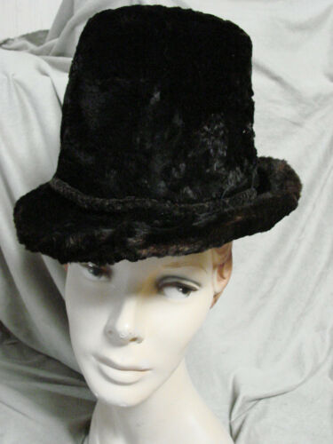 Vintage Edwardian Furry Beaver Hat Brim BLACK Top