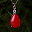 China-handcarved-red-jade-Water-drop-shape-Pendant-necklace miniature 1